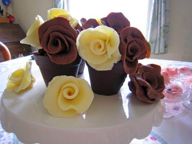 Chocolate Roses in Chocolate Pots with Chocolate Soil