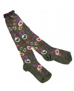Pansy Olive Socks