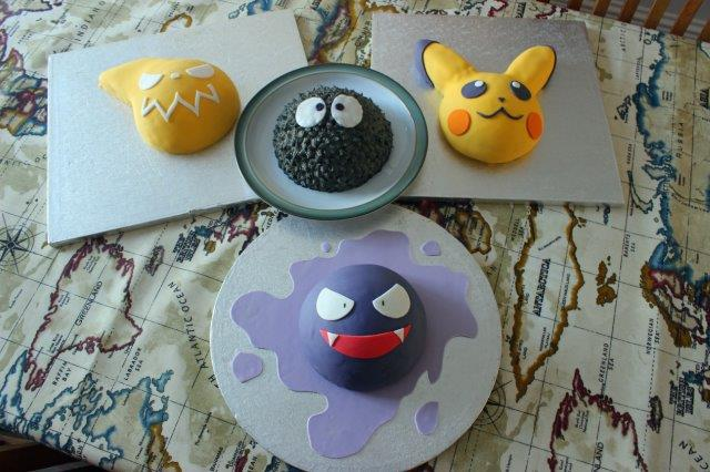 Pikachu Cake, Gastly Cake, Soot Sprite Cake and Soul Eater Cake